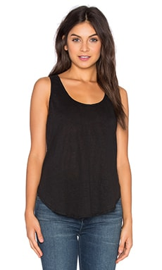 Linen Scoop Tank in Black