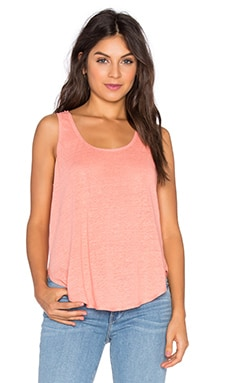 Linen Scoop Tank in Peach