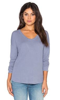 Heather Rib Shirt Tail Tee in Quarry