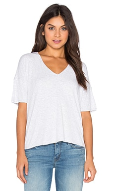 Drop Shoulder V Neck Tee in Heather White