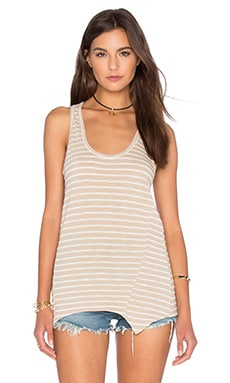 Heather Stripe Racerback Tank in Khaki & Ivory