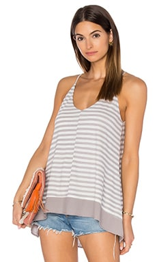 Heather Hi Lo Double Cami in Chrome Stripe