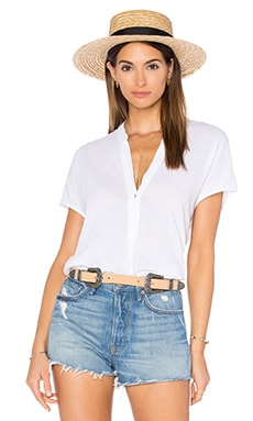 Gauze Split Neck Top en Blanc