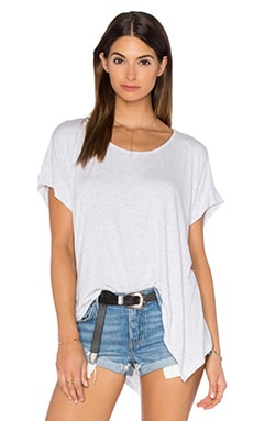 Heather Boxy Swing Hem Tee in Heather White