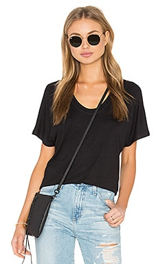 Heather Rib Shirttail Tee in Black