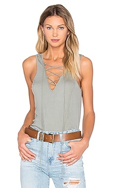 Rib Lace Up Tank in Cobblestone