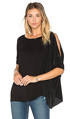 Asymmetric Silk Boxy Top in Black