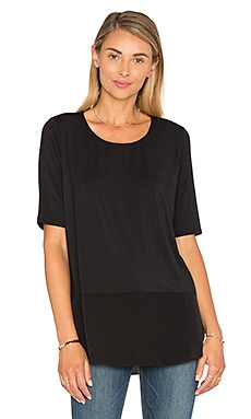Heather Silk Round Hem Top in Black