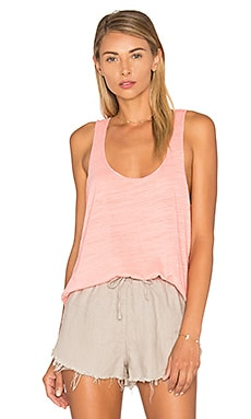 Heather Cotton & Gauze Tank in Flamingo