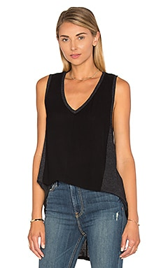Heather Cotton & Gauze V Neck Panel Tank in Black