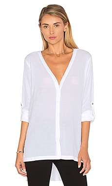 Heather Gauze Button Down in White