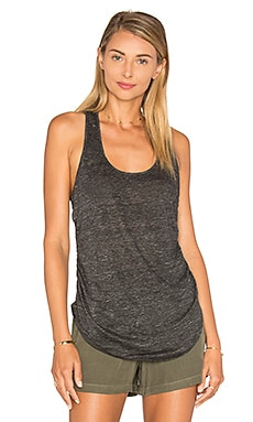 Linen Shirred Side Tank in Heather Charcoal