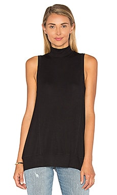 Heather Wrap Back Panel Tank in Black