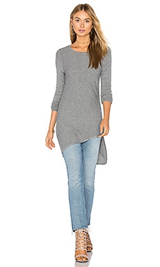 Asym Angled Top in Light Heather Grey