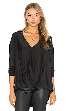 Silk Tuck Front Top in Black
