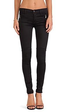 Hudson Jeans Stark Custom Moto in Black Knight