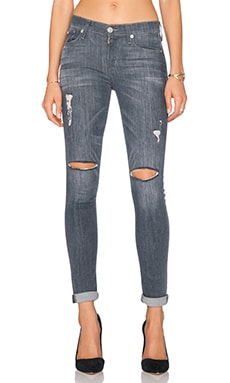 Hudson Jeans Shine Mid Rise Skinny in Obsidian