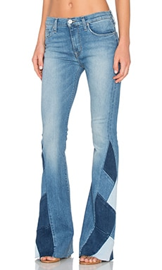 Hudson Jeans Laurel Patchwork Flare in Radio Silence
