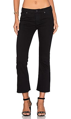 Hudson Jeans Mid Rise Crop Unfinished Hem Flare in Black