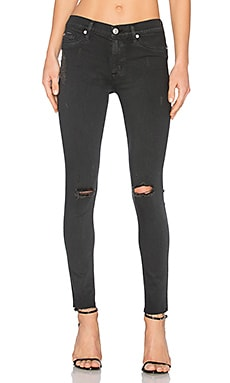 Nico Mid Rise Skinny in Blackened Charcoal Destructed