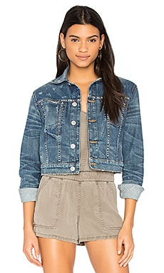 Garrison Cropped Denim Jacket in Medium Blue