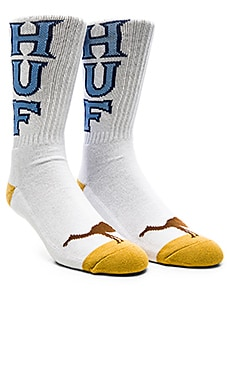 Huf Camel Toe 2 Pack Socks in White & White