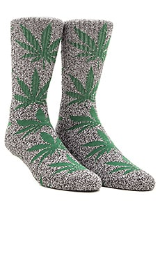 Huf Plantlife 2 Pack Socks in Black Heather Green & Black Heather Green