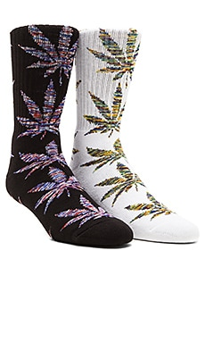 Huf Melange Plantlife 2 Pack Socks in Black & Blue, White & Green