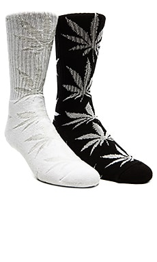 Huf Glow In The Dark Plantlife 2 Pack Socks in Black & White