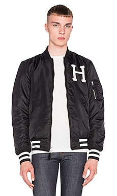 Huf MA-1 Reversible Bomber Jacket in Black & Camo