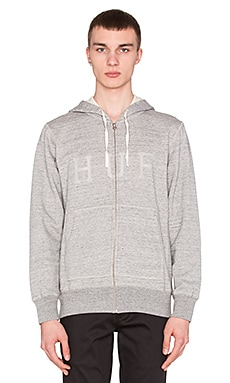 Huf Brooks Thermal Zip Up Hood in Grey Heather