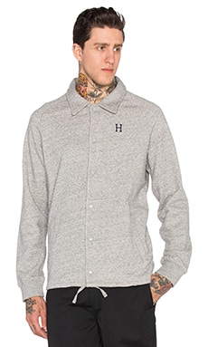 Huf Fleece Coaches Jacket in Grey Heather