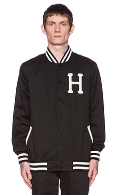 Huf Classic H Baseball Jacket in Black