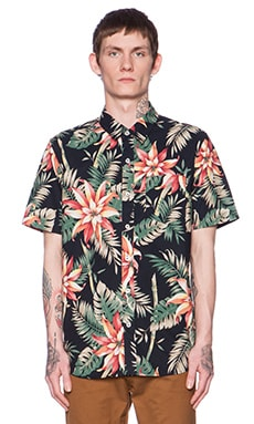 Huf Vintage Tropicana Button Down in Black
