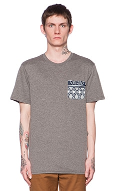 Huf Bandana Pocket Tee in Grey Heather