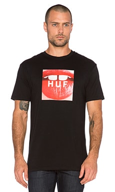Huf Big Gap Beauties Box Logo Tee in Black