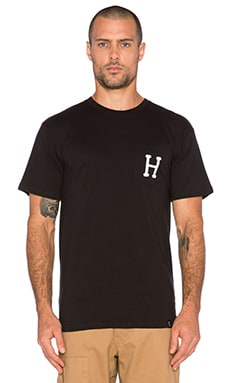 Huf Classic H Pocket Tee in Black
