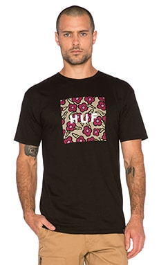 Huf X Krooked Flowers Box Logo Tee in Black