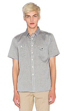 Huf Chambray Short Sleeve Button Up in Grey