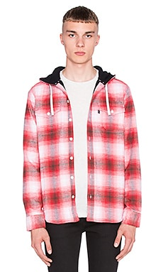 Huf Mason Hooded Flannel Button Up in Red