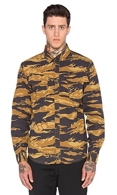 Huf BDU Military Button Down in Golden Tiger Stripe Camo