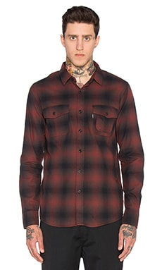 Huf Slauson Plaid Button Down in Wine & Black