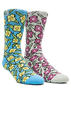 Huf X Krooked Flowers Sock in Peacock, Huf X Krooked Flowers Sock in Tarragon