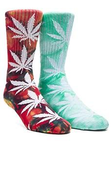 Huf Tie Dye Plantlife 2 Pack Socks in Green & Multicolor