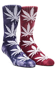 Huf Tie Dye Plantlife 2 Pack Socks in Wine & Navy