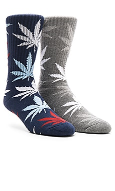Huf 2-Pack Plantlife Crew Socks in Charcoal Heather, Plantlife Crew Socks in Navy