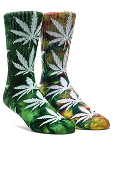 Huf Tie Dye Plantlife Crew Socks in Lime & Dark Green, Huf Tie Dye Plantlife Socks in Multi
