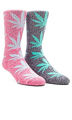 Huf Plantlife Crew Socks in Navy Heather Mint, Huf Plantlife Crew Socks in Pink Heather Sky