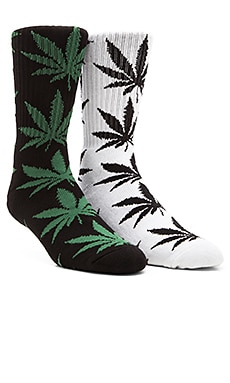 Huf Plantlife Crew Socks in White, Huf Plantlife Crew Socks in Black Green