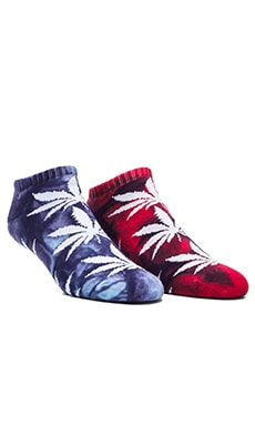 Huf Tie Die Plant life Crew Sock in Mint Navy, Huf Tie Die Plant life Crew Sock in Red Blue